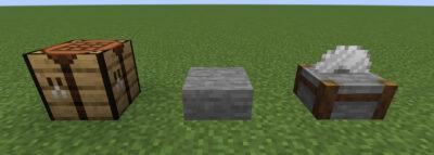 石のハーフブロックにクラフトする