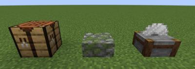 苔むした丸石のハーフブロックにクラフトする