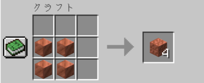 作業台を使って銅ブロックを切り込み入りの銅にクラフトする