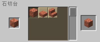 石切台を使って銅ブロックを切り込み入りの銅にクラフトする