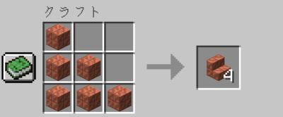切り込み入りの銅を作業台を使って切り込み入りの銅の階段にクラフトする